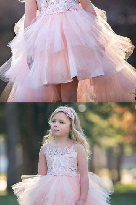 A-Line Round Neck High Low Pink Tulle Flower Girl Dress with Appliques M4725