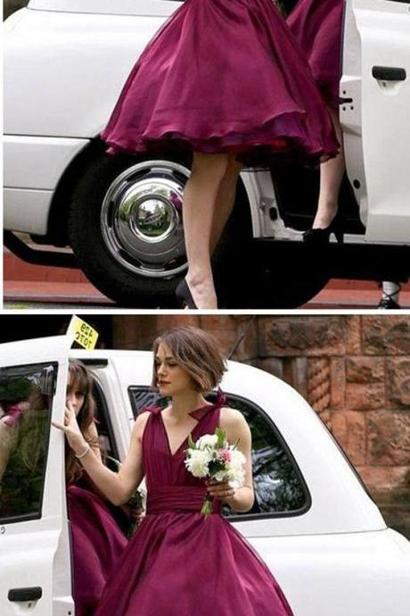 V-neck Maroon Chiffon Simple Design Pretty Short Bridesmaid Dresses For Wedding Party M4758