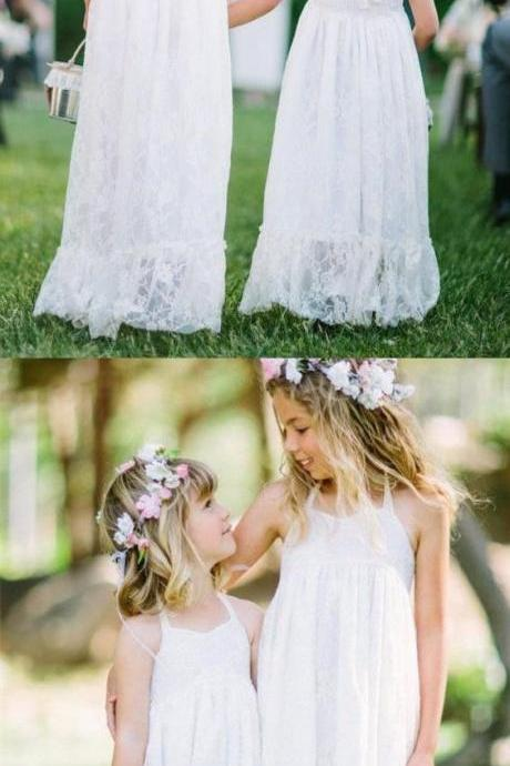A-Line Halter Backless White Lace Flower Girl Dress M4801