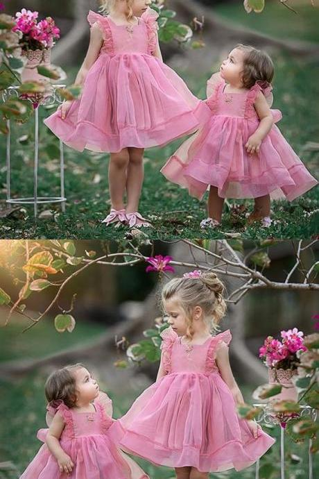 A-Line Square Neck Pink Flower Girl Dress with Ruffles Appliques M4803