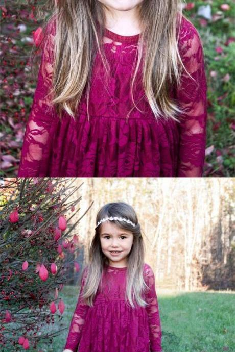 A-Line Jewel Long Sleeves Fuchsia Lace Flower Girl Dress M4806