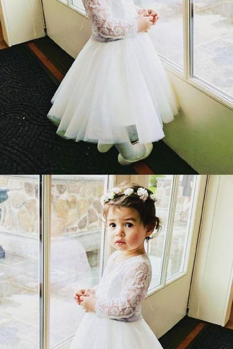 A-Line Open Back Long Sleeves Flower Girl Dress with Lace Sash M4808