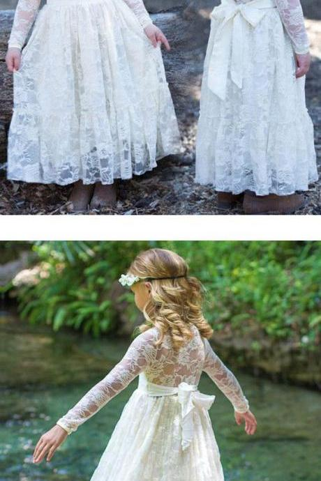 2018 Lace Flower Girl Dresses With Sleeves Cute Cheap Flower Girl Dresses M4899