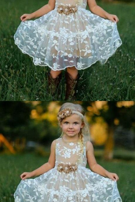 A-Line Jewel White Lace Flower Girl Dress with Flowers M5000