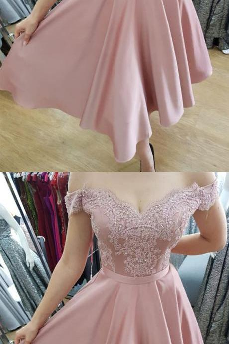 Beaded Lace V-neck Off The Shoulder Bridesmaid Dresses Tea Length Party Gowns M5042