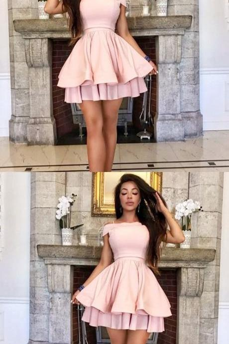 Off the Shoulder Tiered Pink Short Homecoming Dress M5045