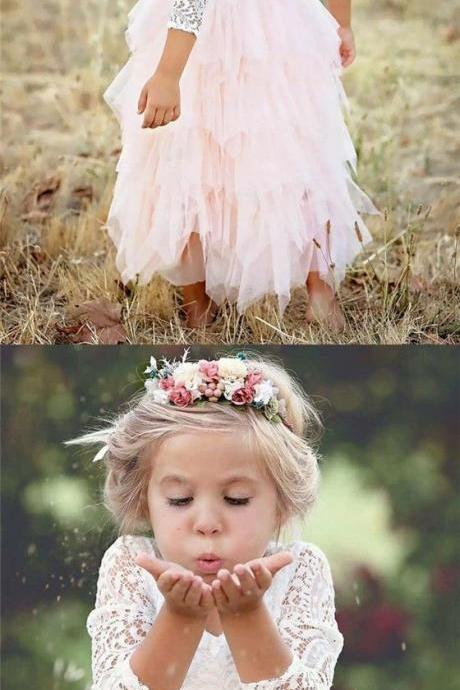 A-Line Scoop Tea-Length 3/4 Sleeves Pink Flower Girl Dresses with Lace Ruffles M5219