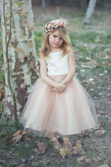 Elegant Satin and Tulle Flower Girl Dress M5220