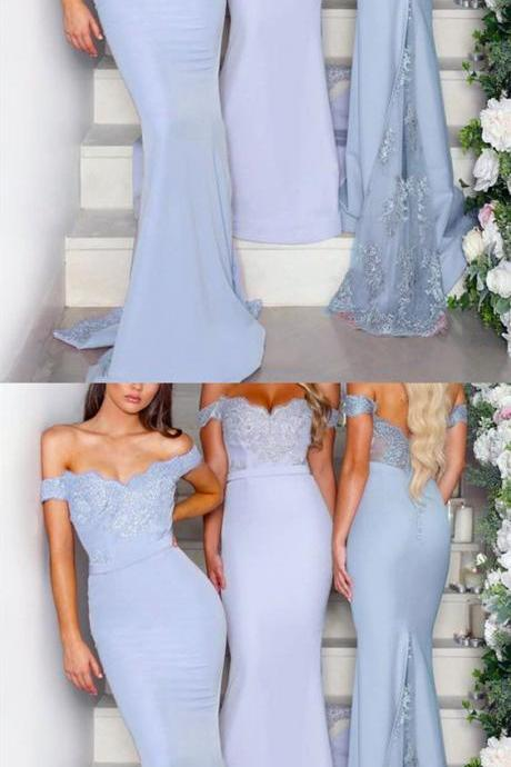 Lace Appliques V-neck Off The Shoulder Long Jersey Mermaid Bridesmaid Dress M5283