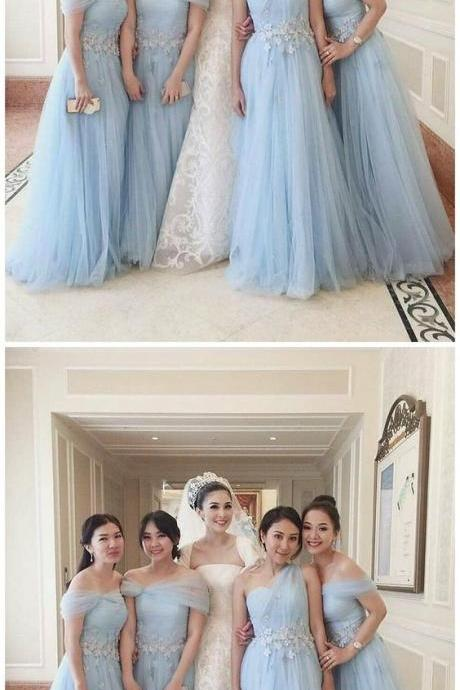 Off the Shoulder Sky Blue Appliqued Tulle Mismatched Bridesmaid Dresses M5287