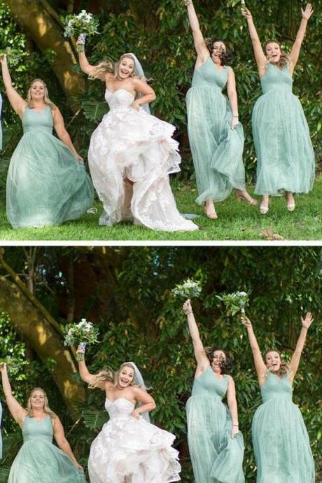 Plus Size Long Mint Bridesmaid Dresses V Neck Tulle Maternity Bridesmaid Dress M5288
