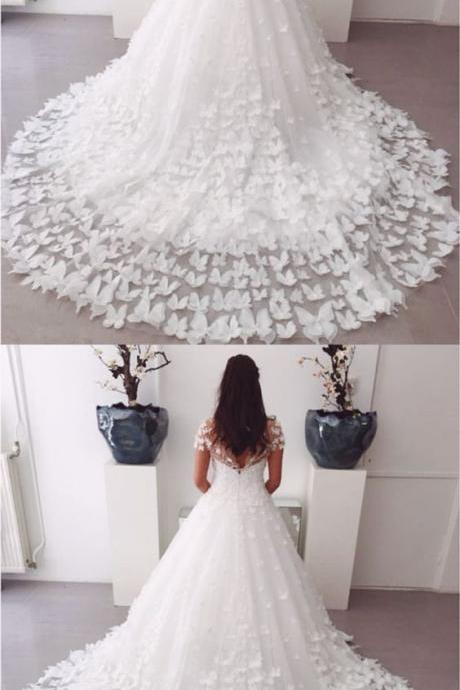 A-line Sweep Train Butterfly Wedding Dresses Lace Cap Sleeves M5327