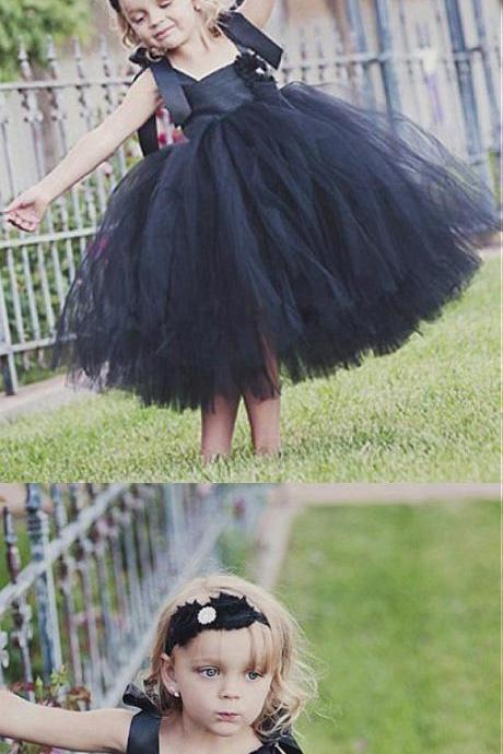 Black Tulle Spaghetti Straps Tutu Flower Girl Dresses,Cheap Older Flower Girl Dresses M5331