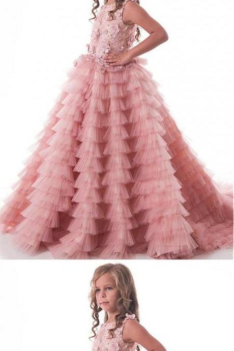 Modest Tulle Lace Scoop Floor-length Flower Girl Dresses With Handmade Flowers & Beadings M5332
