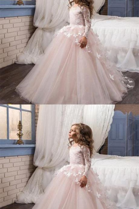 2018 Cute Pink Lace Tulle Cheap Latest Flower Girl Dresses,Litter Girl Dresses M5333