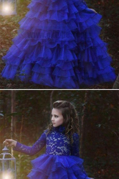 Blue Halter Long Sleeve Lace Tulle Flower Girl Dresses With Ruffles M5334