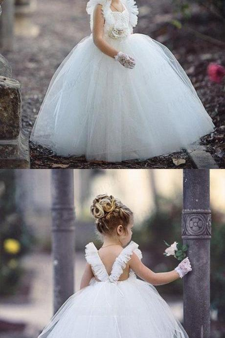 Cute White Tulle Beaded Backless Ball Gown Little Girl Dresses, Flower Girl Dresses M5335