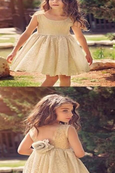 Excellent Scoop Neckline Lace Short Flower Girl Dresses With Sleeveless M5336