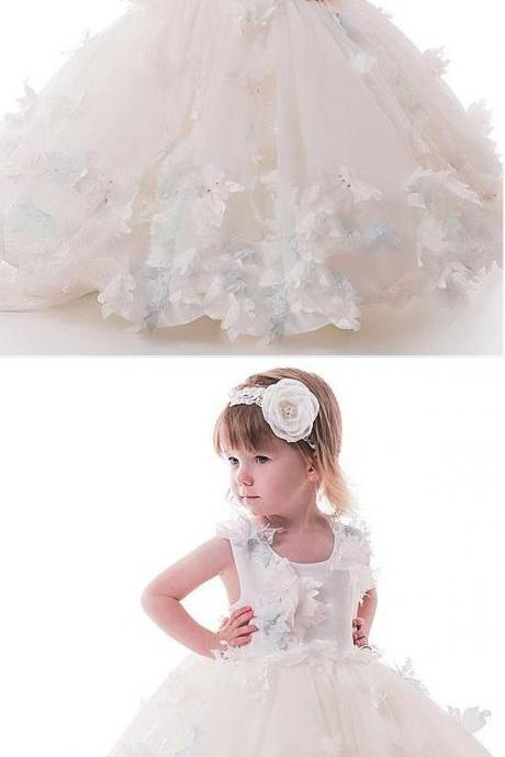 Cute Beaded White Tulle Flower Girl Dresses With Handmade Flowers ,Cheap Flower Girl Dresses M5337