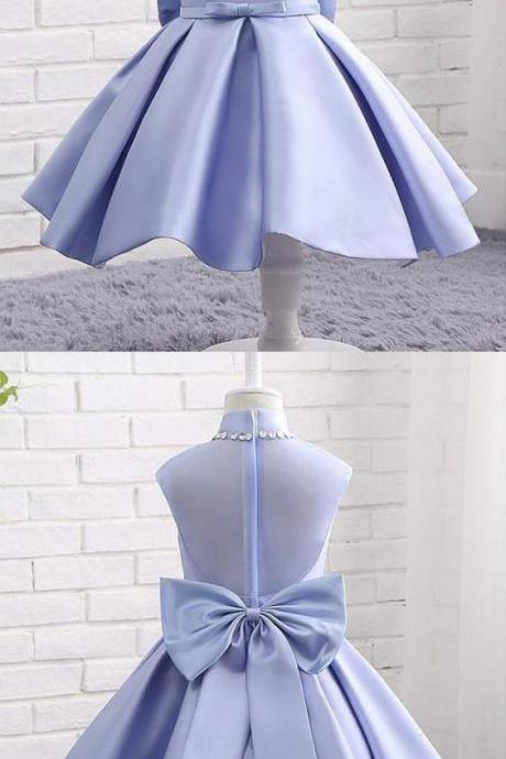 In Stock Modern Organza & Satin High Collar Neckline Ball Gown Flower Girl Dresses With Bowknot & Beadings M5340