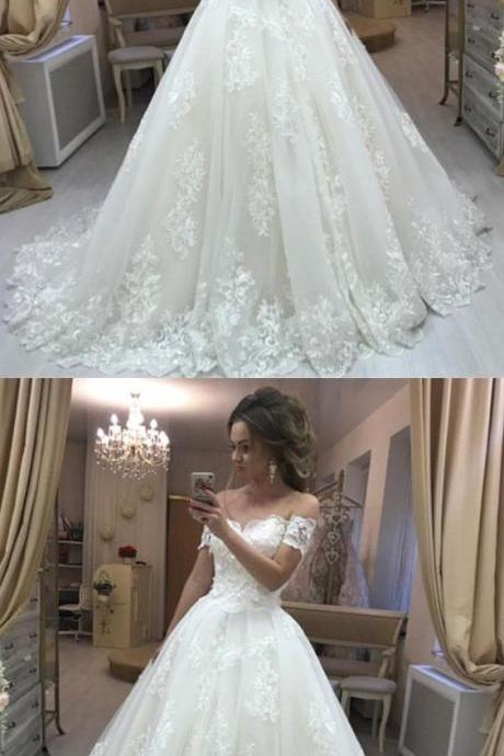 Lace Embroidery Off Shoulder Tulle Wedding Dresses Princess M5403