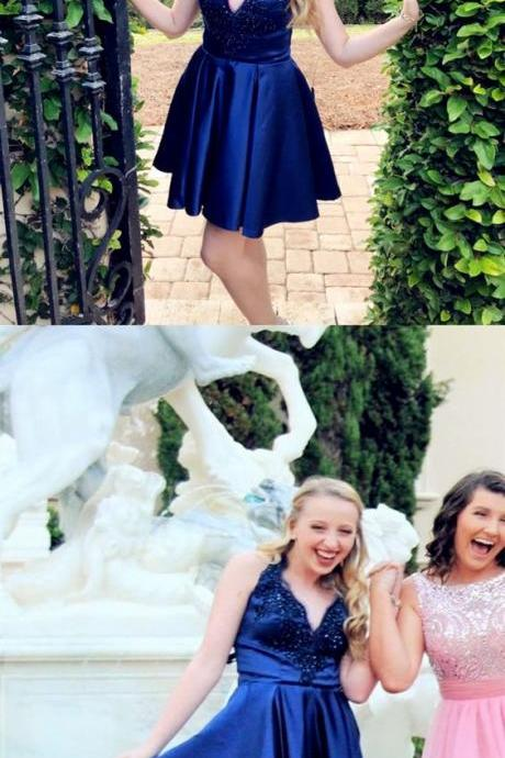 A-Line High Low Halter Navy Blue Lace Short Homecoming Dress with Pockets M5407