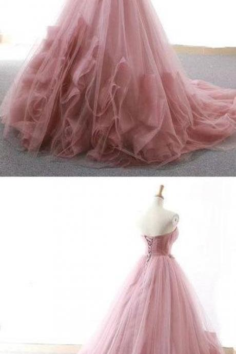 pink tulle long prom dress M5419