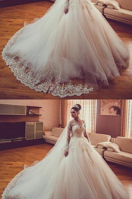 Vintage Lace Long Sleeves Ball Gown Wedding Dresses 2018 M5452