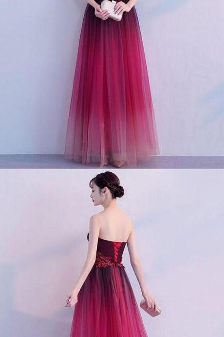 Simple tulle burgundy long prom dress, tulle bridesmaid dress M5517