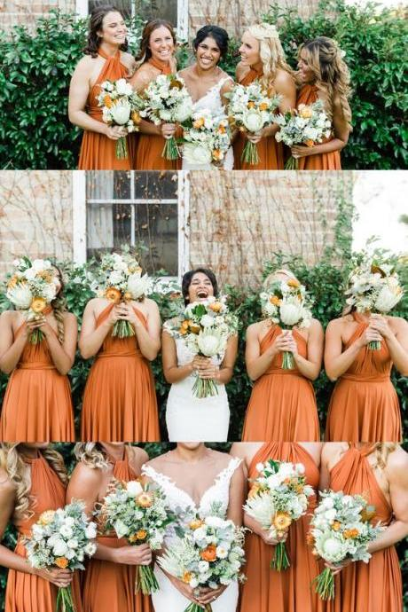 Halter Orange Bridesmaid Dresses, Long Bridesmaid Dresses, Rustic Bridesmaid Dresses M5634