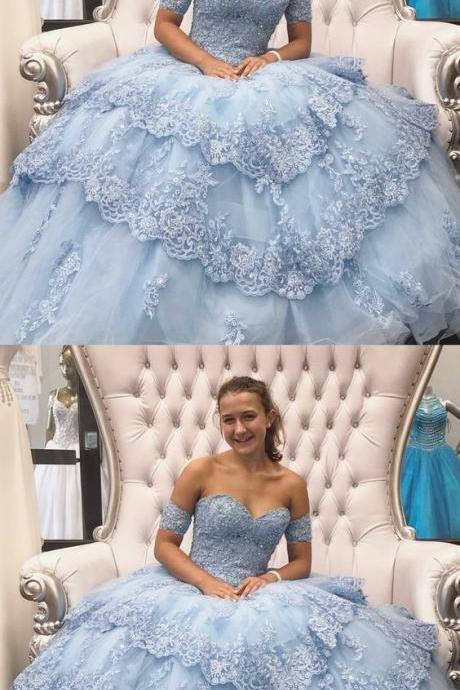 Ball Gown Sweetheart Blue Tulle Quinceanera Dress with Appliques and Beading M5690