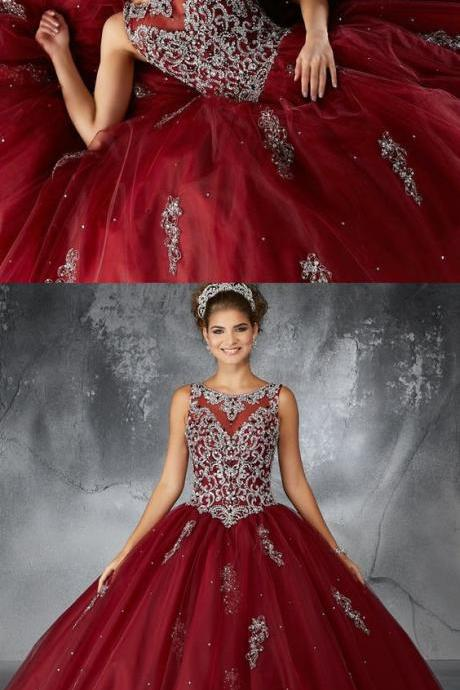 Ball Gown Bateau Dark Red Tulle Quinceanera Dress with Appliques and Beading M5691