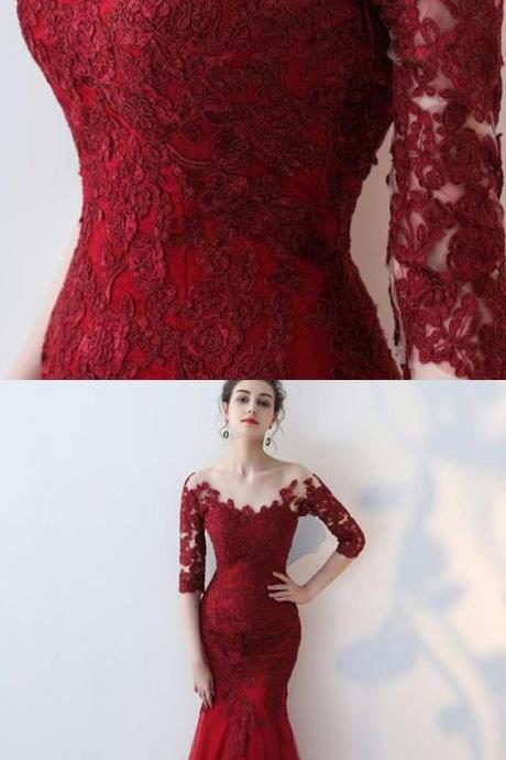 scoop lace appliqued red prom dress with long sleeves, mermaid long formal dress with sleeves M5887
