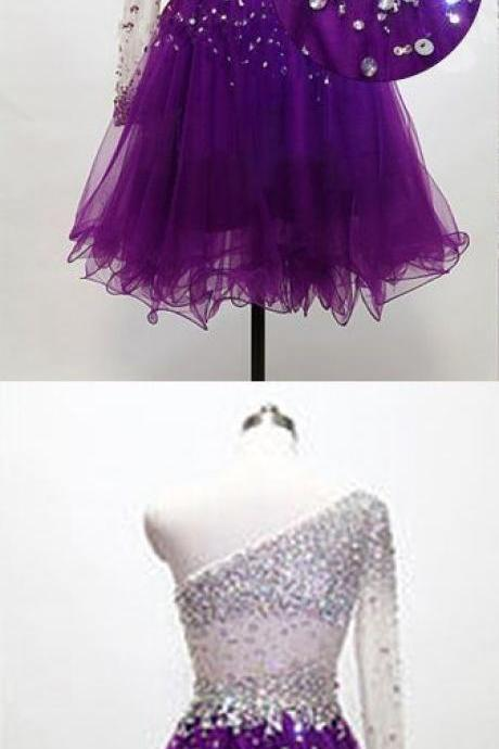 Grape Homecoming Dress,One Shoulder Homecoming Dresses,Tulle Homecoming Gowns,Short Prom Gown M5888