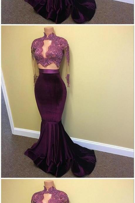 Elegant Prom Dress,Long Sleeve Evening Dress,Formal Gown M5889