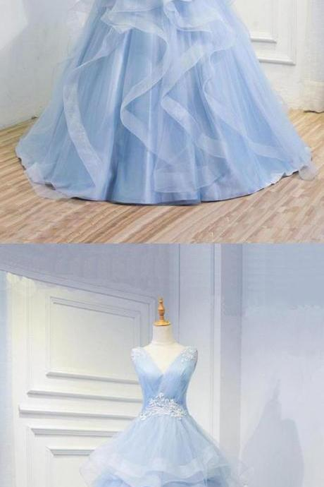 Blue New Design Baby Blue Organza Long V Neck Halter Formal Prom Dress, Beaded Evening Dress M5892
