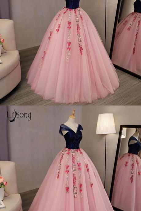 Floral Prom Gowns Navy Blue With Coral Pink Ball Gowns M5894