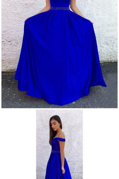 ROYAL BLUE LONG PROM DRESSES OFF-THE-SHOULDER A-LINE CHEAP PROM DRESS EVENING DRESSES M5896