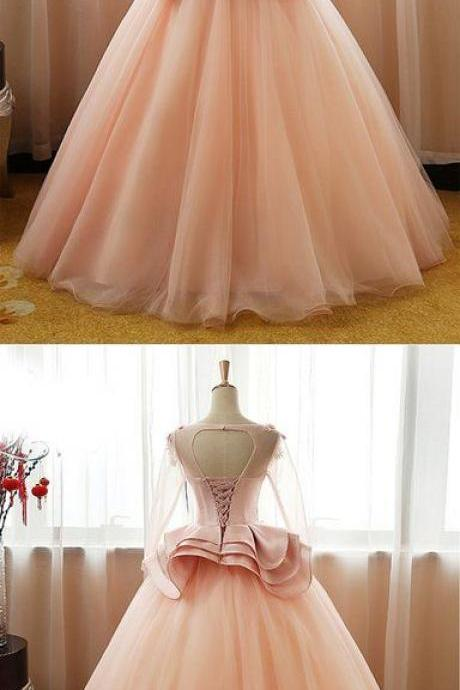 Pink tulle mid sleeve long court prom dress with bowknot, long satin top evening dress M5897