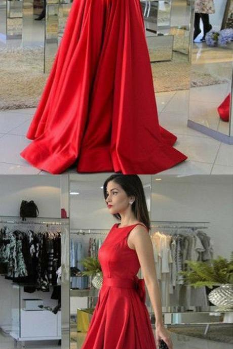 A-Line Round Neck Red Satin Prom Dress with Bowknot M5898