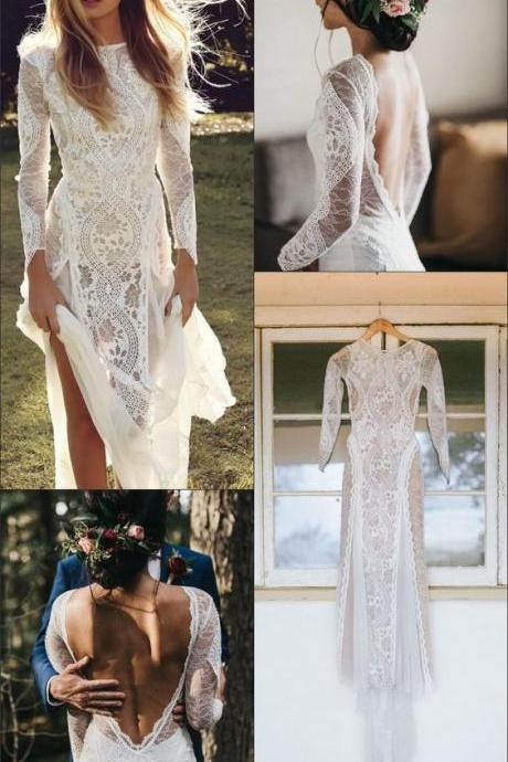A-Line Bateau Long Sleeves Backless Chiffon Wedding Dress with Lace M6004