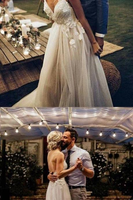 Backless Wedding Dresses Aline Deep V Spaghetti Straps Simple Open Back Bridal Gown M6023