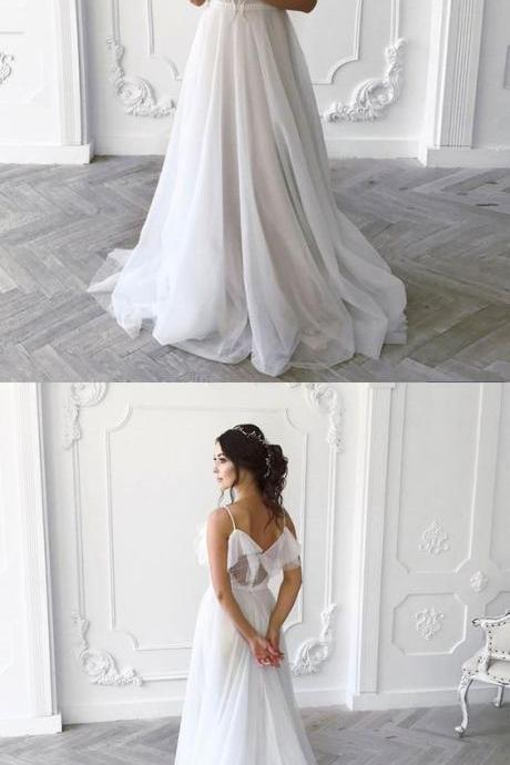 White chiffon v neck long a line evening dress, white wedding dress M6071
