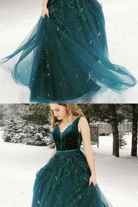 A-Line V-neck Floor-Length Dark Green Prom Dress with Appliques M6236