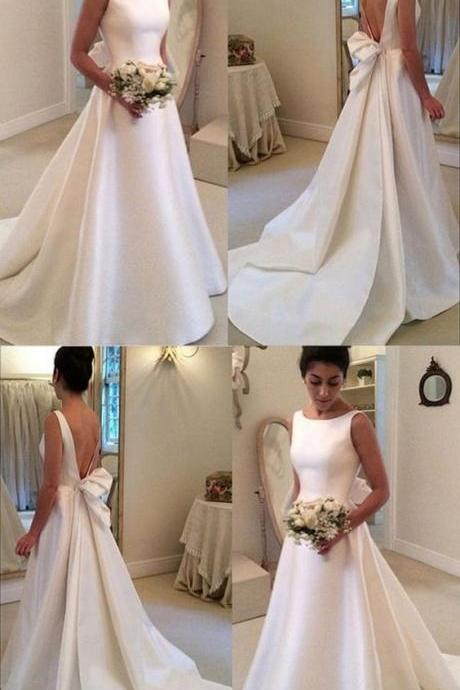 Open Back Wedding Dresses Aline Backless Simple Cheap Long Train Bridal Gown M6442