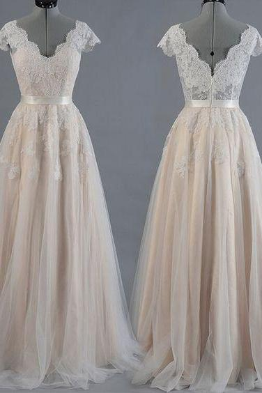A Line Lace Tulle Vintage Long Prom Evening Wedding Dress Bridal Gown M6523