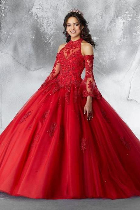 Satin Tulle with Embroidery and Beading red ball gown prom dress M6535
