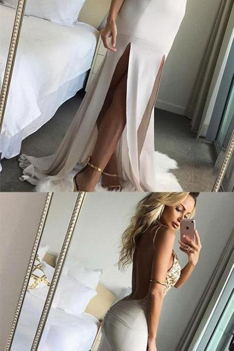 A-Line Spaghetti Straps Sweep Train White Chiffon Prom Dress with Lace Sequins M6626