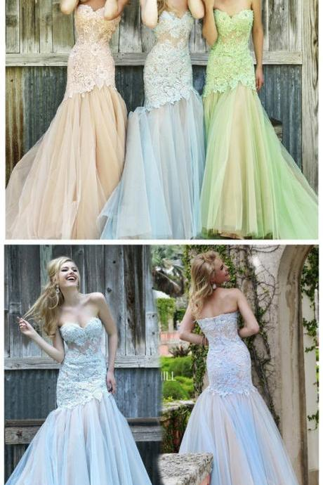 Fashion Mermaid Bridesmaid Dresses,Evening Dress Strapless Bridesmaid Dress Lace Prom Gowns M6684