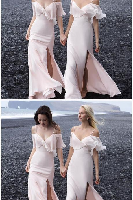 Charming Off Shoulder Backless Bridesmaid Dresses, Sexy Slit Spaghetti Straps Bridesmaid Dresses M6704